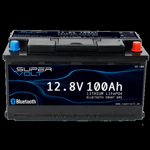 supervolt lifepo4 Lithium Batterie mit 100ah Kapazität in der Frontansicht