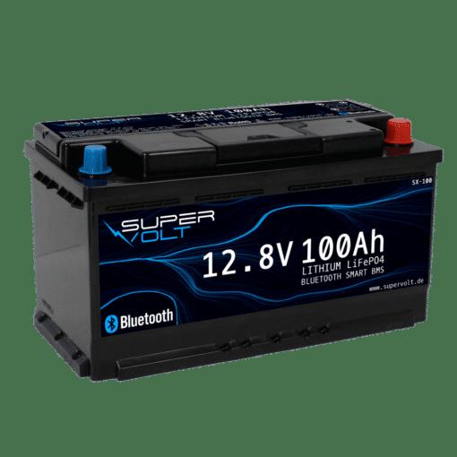 supervolt lifepo4 Lithium Batterie mit 100ah schräg von der Seite